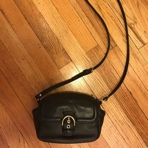 Coach camera bag. Blk leather & brass. Like new.